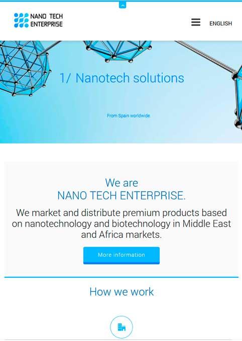 Traducción de contenidos y textos legales de web corporativa para NANO TECH ENTERPRISE